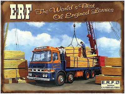 ERF Truck, Lorry, Wagon, Classic/Vintage, Picture, Plaque, Large Metal Tin Sign