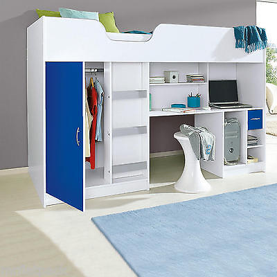 Lifestyle Single High Sleeper Childrens Cabin Bed White And Blue R140Wb