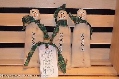 3 Primitive SNOWMAN Ornies Tucks Fillers Dolls Pillows CHRISTMAS Shelf Sitters