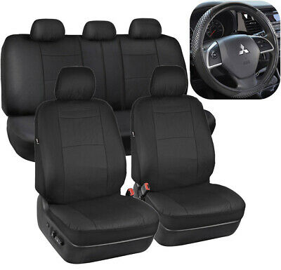 Black PU Leather Seat Covers for Car Auto & Sport Grip Steering Wheel Cover