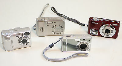 Lot 3 Nikon CoolPix Cameras & 1 Pentax Optio S12 Digital Camera - Parts Repair