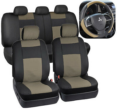 PU Leather Car Seat Covers & Massage Grip Steering Wheel Cover Black/Beige Tan