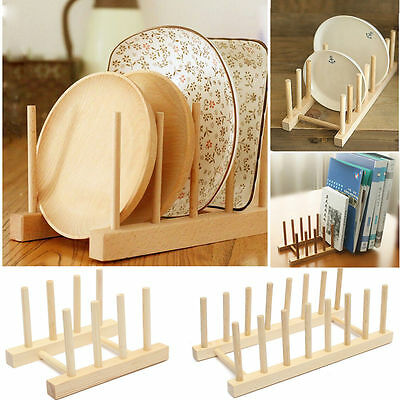 3/6/7 Dish Rack Pots Wooden Plate Stand Wood Kitchen Cups Display Drainer Holder