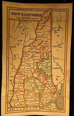 New Hampshire state scarce 1853 Phelps cerographic antique hand colored map