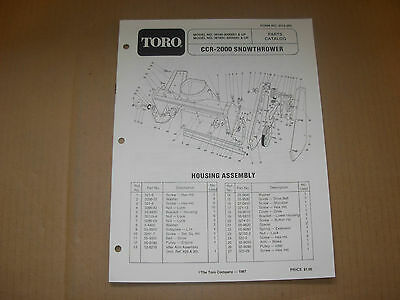 Toro CCR-2000 Snowthrower Snowblower Parts Manual -  s/n's listed