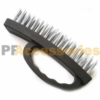 "6.5"" inch Large Heavy Duty Stainless Steel Wire Brush Plastic Grip (Black)"