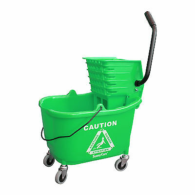 SunnyCare® 35qt Mop Bucket with Wringer: Side Press -Plastic -Green -NEW
