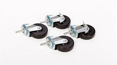 "Set of 4 – 4"" Caster Wheels, 3/8"" Bolt for Wire Shelving  600 lb Weight Capacity"
