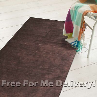 LISO CHOC BROWN MOTTLED PLAIN MODERN FLOOR RUG RUNNER 75cm WIDE **FREE DELIVERY*