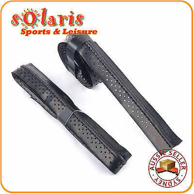 2 x Dry Comfort Replacement Grips with Stitched Ridge for Tennis Squash Racquets
