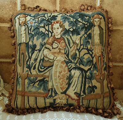 "16"" OLD Vintage Antique Design Lady With Servant Handmade Aubusson Pillow"