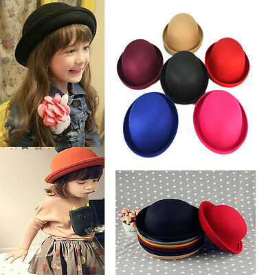 New Children Kids Boys Girls Cute Fedora Dome Solid Imitated Wool Hat Bowler Cap