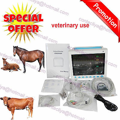 New CE&FDA Vet Veterinary Patient Monitor 6 Parameter,ECG,NIBP,PR,Spo2,Temp,Resp