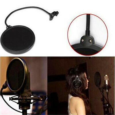 DZ846 Double Layer Studio Microphone Mic Wind Mask Gooseneck Shield Pop Filter♫