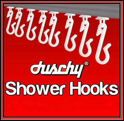 Duschy Replacement White Shower Curtain Hooks Gliders Runners Hook - 12/18/36/72