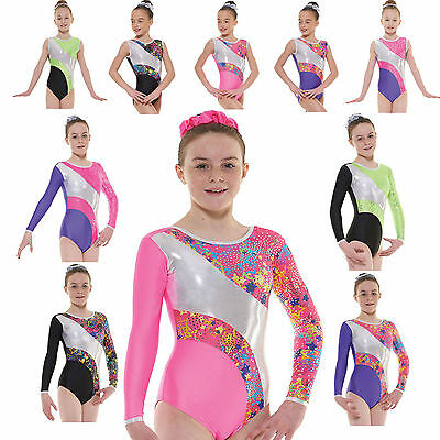 Girls Gymnastics Leotards Gym Leotard Lycra Metallic Foil Sleevless Sleeved UK