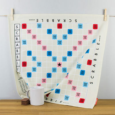 New Wild & Wolf Scrabble Game Board Square Cotton Tea Towel Retro Gift Idea