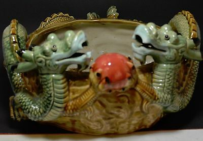 Vintage Chinese Porcelain Planter / Fish Bowl ~ 12'' Wide ~