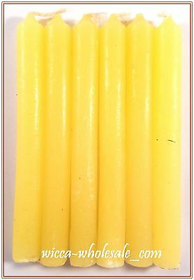 """6 YELLOW MINI 4"""" CANDLE MAGICK CANDLES (Spell Altar Chime Wicca Pagan Ritual)"""
