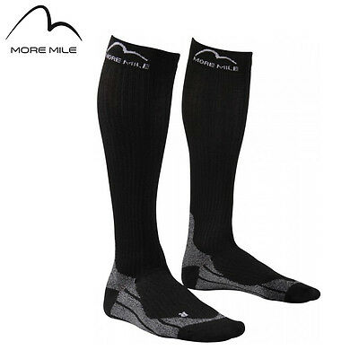 More Mile Mens Womens Ladies R2R Elite Black Long Running Calf Compression Socks