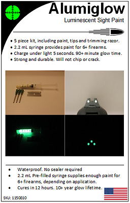 Alumiglow 2.2 mL Pre-Filled Syringe Glow Paint Kit for Gun Sights - Waterproof