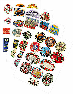 Vintage Style Travel Suitcase Luggage Labels Set Of 12 vinyl stickers multi