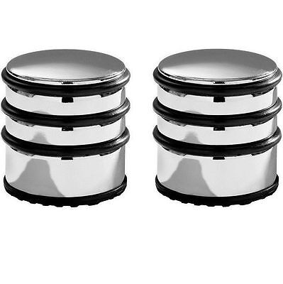 2 x HEAVY DUTY CHROME DOOR STOPPER STOP WITH PROTECTIVE RINGS