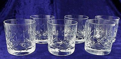 Set 6 Lead Crystal Whisky Tumbler Glasses.