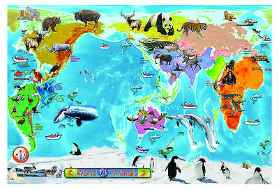 A2 - huge laminated ANIMAL WORLD MAP Educational teaching kids Poster wall chart