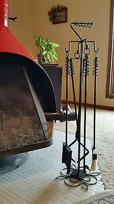 Wood Stove/Fireplace 4 Implements and Stand, Custom Length, Made by Blacksmith