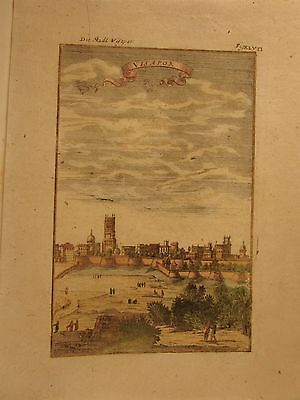 India Visapor birds-eye view 1719 old engraved topographical hand color print