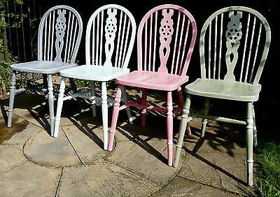 Shabby Chic Hand Painted 4 HARDWOOD CHAIRS in Blue Pink Green & Grey Colours