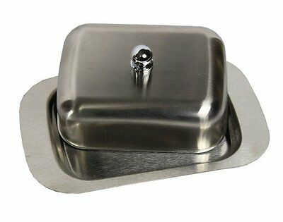 Uk Ship New Stainless Steel Butter Dish With Lid Tray Holder Serving Storage