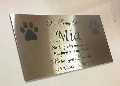 Pet Memorial Custom Engraved on Marine grade Stainless Steel no holes 200x100mm