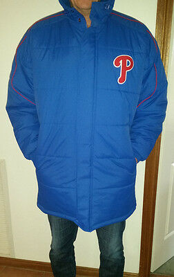 Phillies Baseball Dugout Long Polyfil Coat with Hood - Size Large