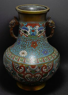 Antique Japanese Large Cloisonne Champleve Bronze Vase ~ 13'' Tall  ~
