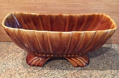 "Vintage Hull? Footed Ceramic Planter, marked ""USA"", Brown Drip Glaze"