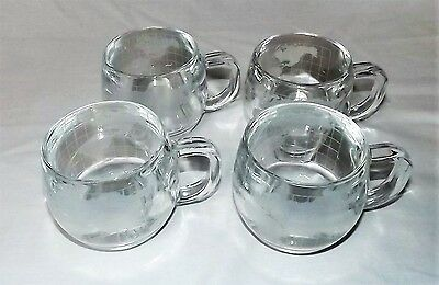 set 4 Nestle World Globe Mugs Cups Etched Clear Glass Coffee Tea Hot Cocoa mug
