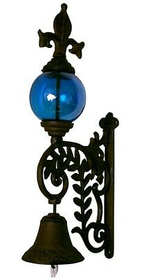 Cast Iron Bell with BLUE Glass Gazing Ball
