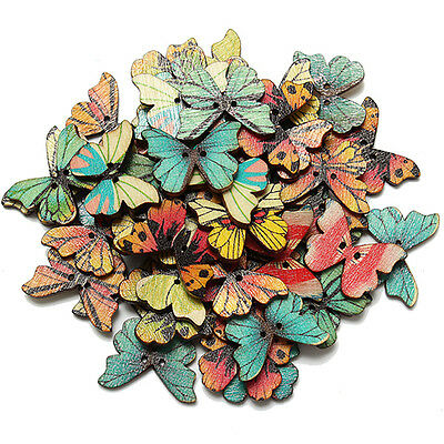 50pcs Mixed Wooden Butterfly Buttons Sewing DIY Scrapbooking Craft 2 Holes 28mm