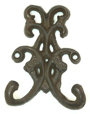 Cast Iron Rust Double Floral Hooks Set of 2