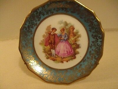 Limoges Courting Couple Mini Decorative Plate Green & Gold Wire Stand included