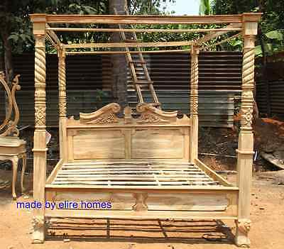 TEAK WOOD Super King size  Rustic finish Four poster canopy Bed not Tudor