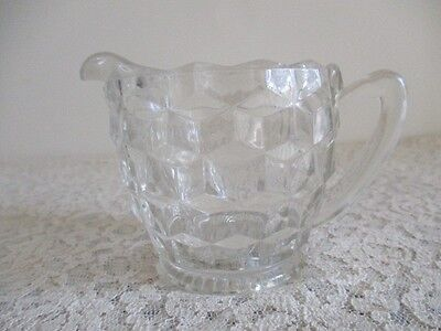 Vintage Clear Glass Jeanette Cubist Creamer