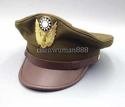 Ww2 China Military Kmt Air Force Type Officer Field Service Cap Hat Xl