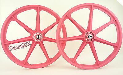 "Skyway BMX 24"" TUFF WHEELS cruiser Mags in PINK sealed bearing hubs MADE IN USA!"