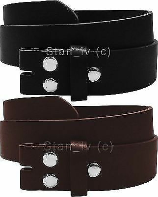 Brown Black Plain Leather Belt Strap Snap On No Buckle Casual Dress Womens
