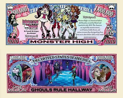 Monster High - Mattel TV Show Character Million Dollar Novelty Money