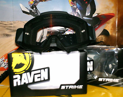 RAVEN Strike Black matt Brille Quad Cross Enduro NEU Clear Lens Scott KX-F Honda