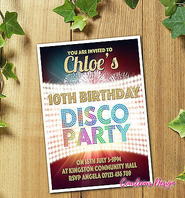 Personalised Disco Party Invitations Invites for Birthday Boy or Girl +Envelopes